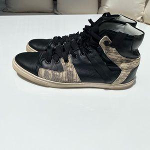 Lanvin high top embossed faux snake skin sneakers